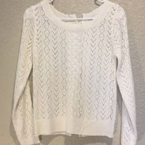 Delia's Lace-Up Back Lightweight Sweater White XS